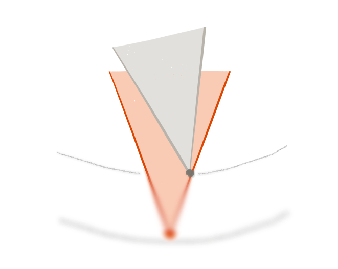 image of a cone, surpassed by another one, blurred